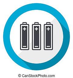 Battery blue flat design web icon