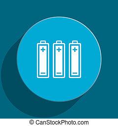 battery blue flat web icon