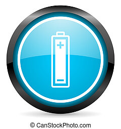 battery blue glossy circle icon on white background