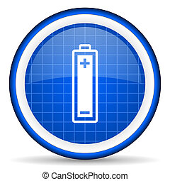 battery blue glossy icon on white background