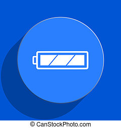 battery blue web flat icon