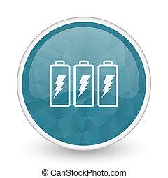 Battery brillant crystal design round blue web icon.