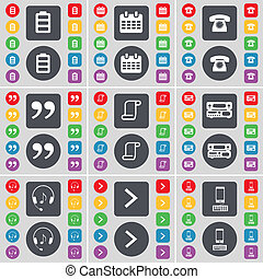 Battery, Calendar, Retro phone, Quotation mark, Scroll, Record player, Headphones, Arrow right, Smartphone icon symbol. A large set of flat, colored buttons for your design.