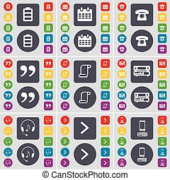 Battery, Calendar, Retro phone, Quotation mark, Scroll, Record player, Headphones, Arrow right, Smartphone icon symbol. A large set of flat, colored buttons for your design. Vector