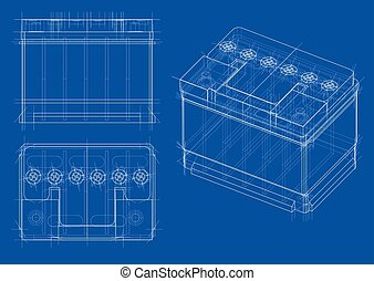 Battery car outline. Vector rendering of 3d
