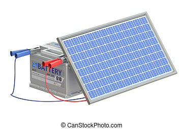 battery car with solar cell panel, 3D rendering