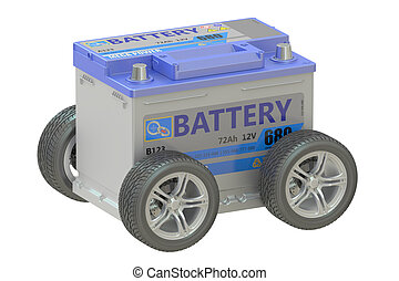 battery car with wheels, 3D rendering