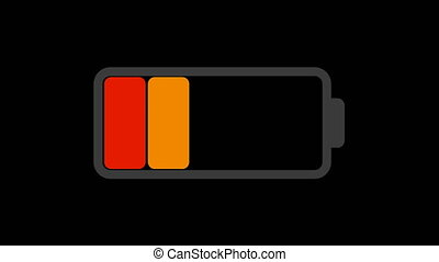 Battery charge animation on black able to loop seamless