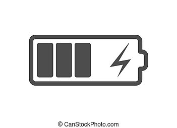 Battery charge icon, vector electrical power charger. Flat...