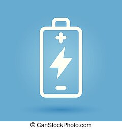 Battery charge icon with energy power symbol