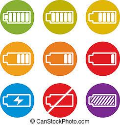 Battery charge indicator icons isolated on white background...