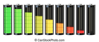 Battery charge level indicators, 3D rendering