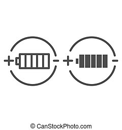 Battery charge line and glyph icon. Full battery vector illustration isolated on white. Alkaline outline style design, designed for web and app. Eps 10.