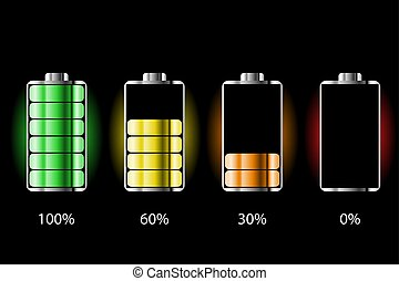 Battery charge status with lighting. Battery indicators with low and high energy levels. Full charge energy for mobile phone. Accumulator indicator icon of power level.