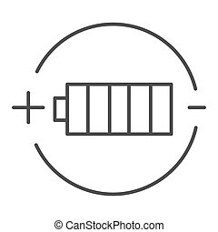 Battery charge thin line icon. Full battery vector illustration isolated on white. Alkaline outline style design, designed for web and app. Eps 10.