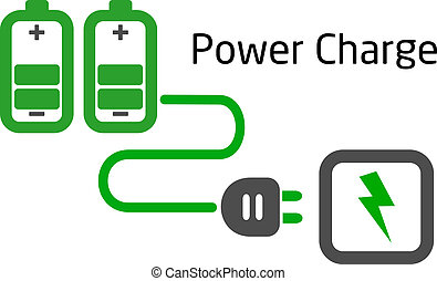 battery charge with plug vector on white background