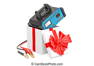 Battery charger inside gift box, gift concept. 3D rendering