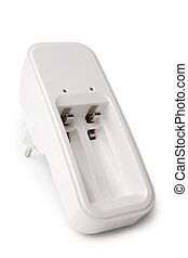 Battery charger on white background