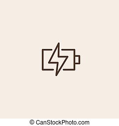 Battery charging icon sign - Battery charging icon of brown...