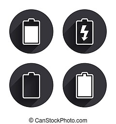 Battery charging icons. Electricity symbol. - Battery...