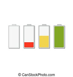 Battery charging icons. Vector illustration.