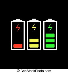 Battery charging icons - vector illustration.