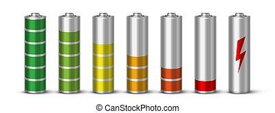 Battery charging realistic vector illustration set....