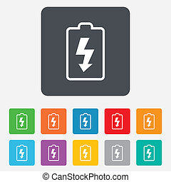 Battery charging sign icon. Lightning symbol. Rounded...