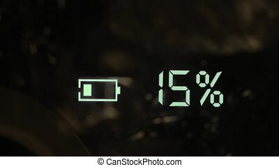 Battery charging icon displayed on an electronic gadget