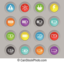 battery colored plastic round buttons icon set