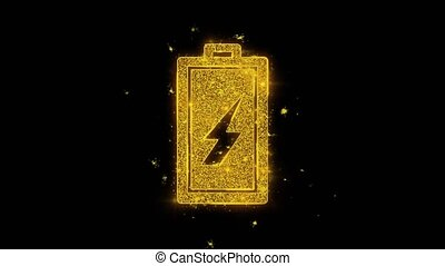 Battery Electricity Icon Sparks Particles on Black Background.