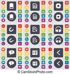 Battery, File, Processor, Magnet, Text file, Headphones, Chat bubble, Plus one, Arrow left icon symbol. A large set of flat, colored buttons for your design. Vector