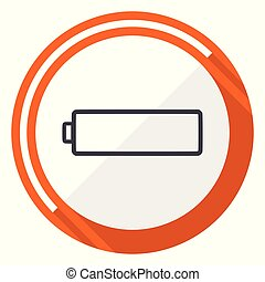 Battery flat design vector web icon. Round orange internet button isolated on white background.
