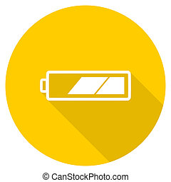 battery flat design yellow web icon