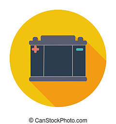 Battery flat icon. - Battery. Single flat color icon. Vector...