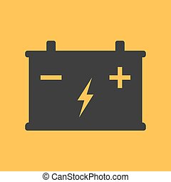 Battery flat icon on background. Vector illustration. Isolated.