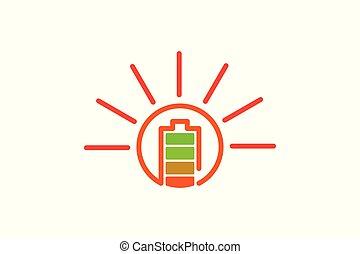 Battery Full, Solar Logo Designs Inspiration Isolated on White Background