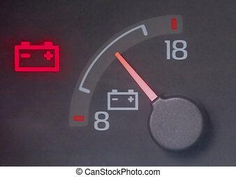 Close up of battery gauge volt meter.
