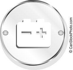 battery glossy meatl icon button on white background