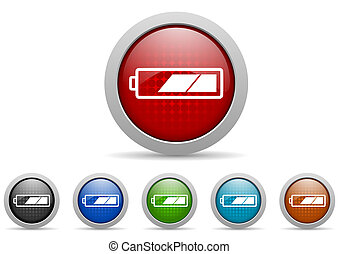 battery glossy web icons set on white background - colorful...