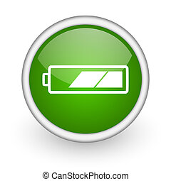 battery green circle glossy web icon on white background