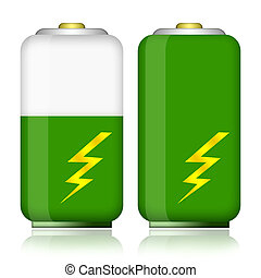 Battery - Green energy battery with charge energy level...