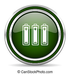 battery green glossy web icon