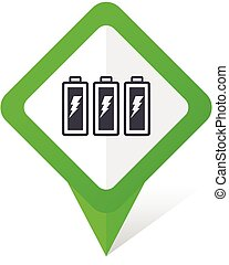 Battery green square pointer web and mobile phone vector...