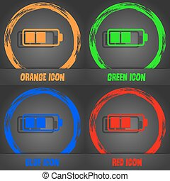 Battery half icon. Fashionable modern style. In the orange, green, blue, red design. Vector