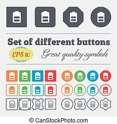 Battery half level, Low electricity icon sign. Big set of colorful, diverse, high-quality buttons. Vector