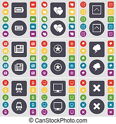 Battery, Heart, Arrow up, Newspaper, Star, Lightning, Train, Monitor, Stop icon symbol. A large set of flat, colored buttons for your design. Vector