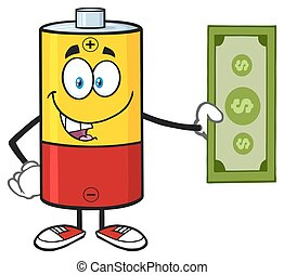 Battery Holding A Dollar Bill