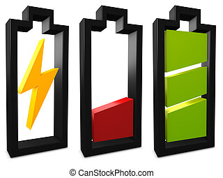 Battery icon - 3d image, conceptual battery, charging, low,...