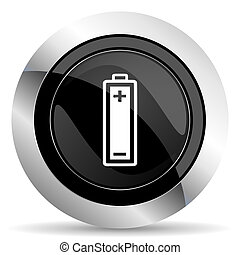 battery icon, black chrome button, power sign